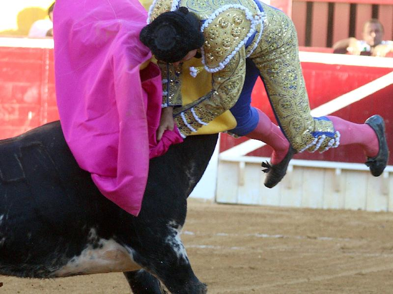 """Spanish matador Francisco """"Paquirri"""" Rivera Ordonez is gored during a bullfight in the northern town of Huesca, on August 10, 2015"""
