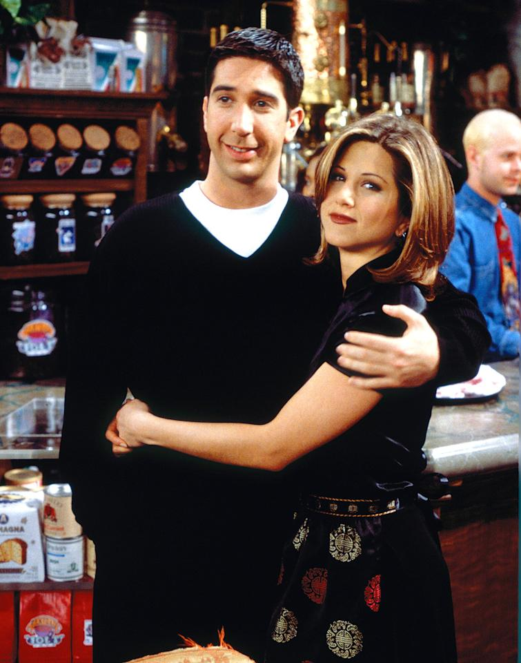 """You know how this one goes. Ross loved Rachel, then Rachel loved Ross, then they got together, then they (debatably) were on a break ... and that was only the beginning. However, this couple finally made it work in the series finale <a href=""""https://www.youtube.com/watch?v=Xl6yy6a3emw"""">when she got off the plane</a>. And, yes, that was the 18th episode of season 10."""