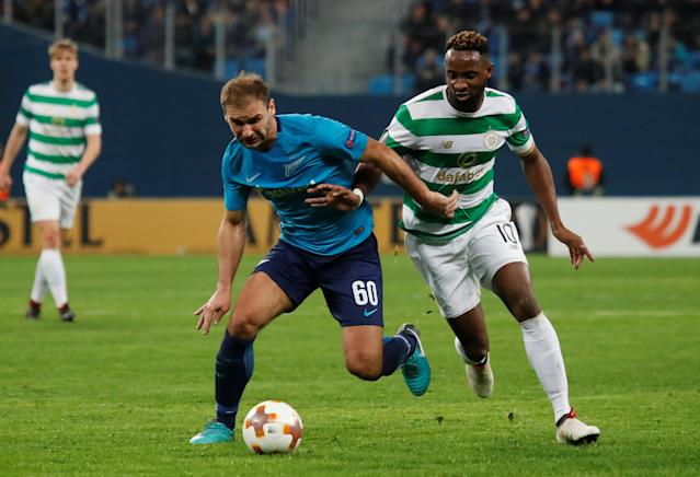 Soccer Football - Europa League Round of 32 Second Leg - Zenit Saint Petersburg vs Celtic - Stadium St. Petersburg, Saint Petersburg, Russia - February 22, 2018 Zenit St. Petersburg's Branislav Ivanovic in action with Celtic's Moussa Dembele REUTERS/Maxim Shemetov