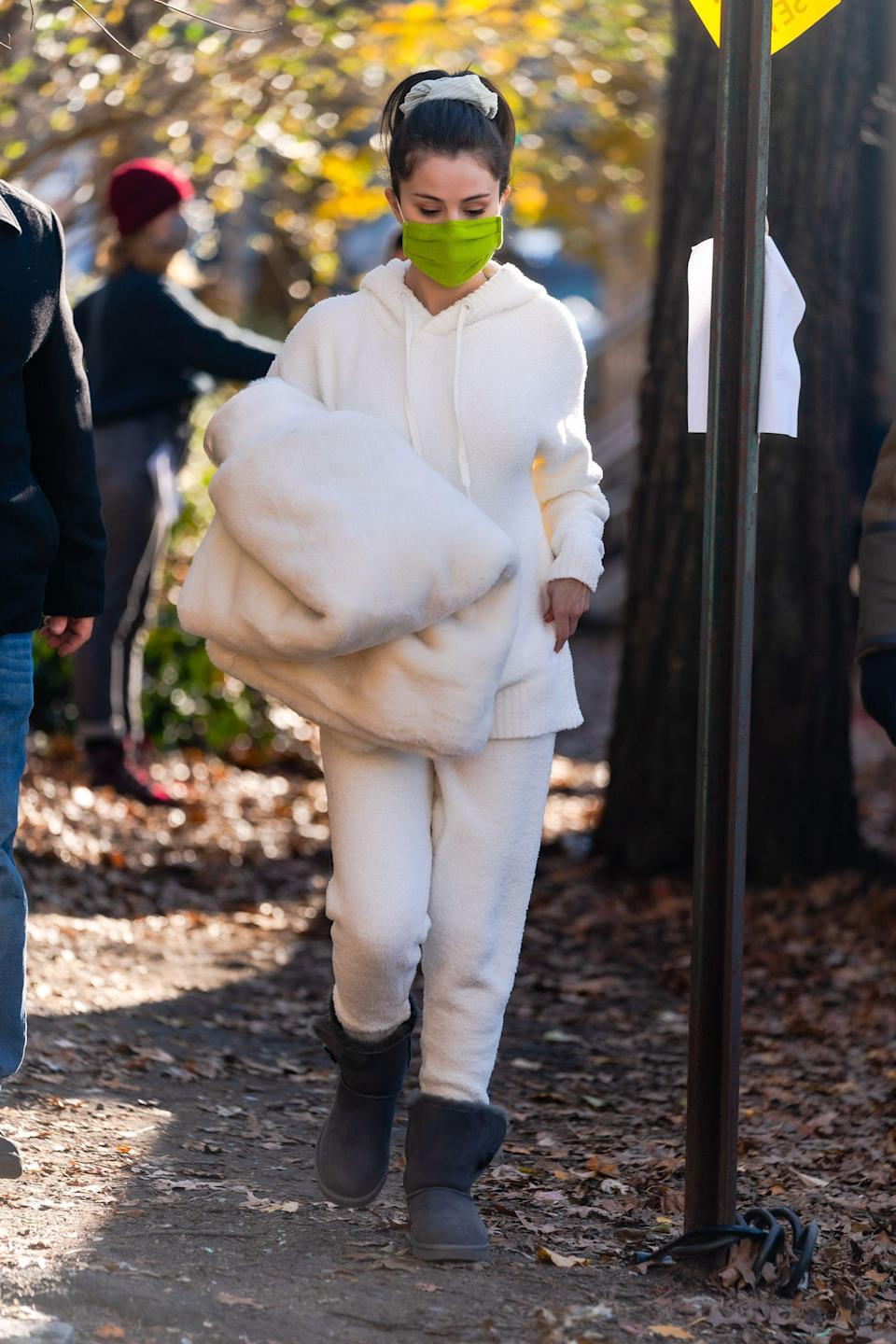 A sweatsuit and Uggs the Selena Gomez way