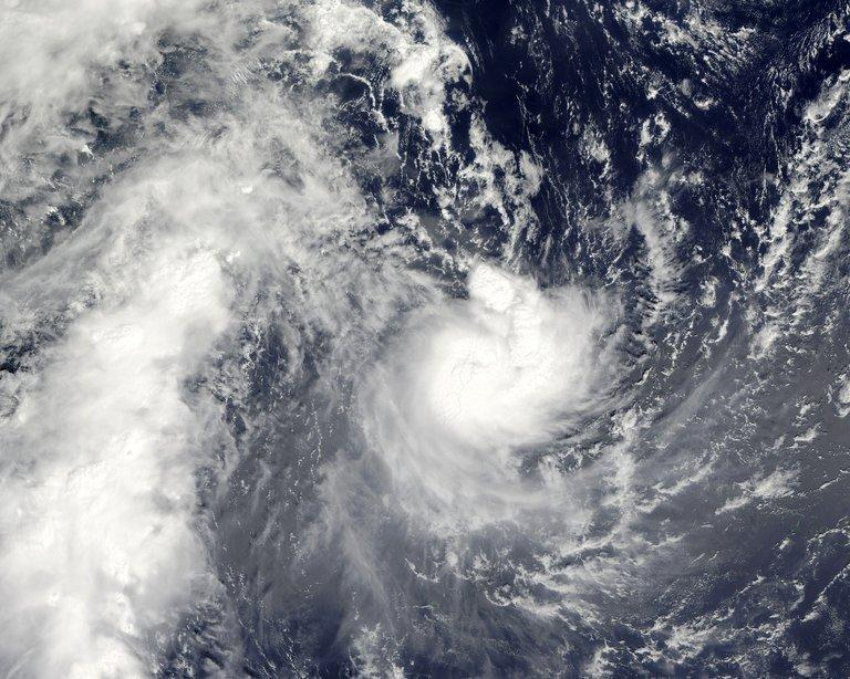 Tropical Cyclone Evan is photographed by NASA's Aqua satellite as it passes over Samoa  on December 13, 2012