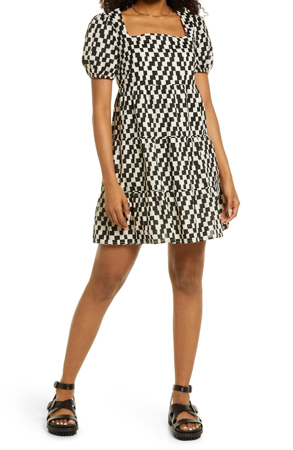 """<p><strong>BP.</strong></p><p>nordstrom.com</p><p><strong>$41.25</strong></p><p><a href=""""https://go.redirectingat.com?id=74968X1596630&url=https%3A%2F%2Fwww.nordstrom.com%2Fs%2Fbp-print-square-neck-babydoll-dress%2F5818603&sref=https%3A%2F%2Fwww.elle.com%2Ffashion%2Fshopping%2Fg37873182%2Fnordstrom-fall-clothing-sale%2F"""" rel=""""nofollow noopener"""" target=""""_blank"""" data-ylk=""""slk:Shop Now"""" class=""""link rapid-noclick-resp"""">Shop Now</a></p><p>This checkered print babydoll dress is so fun! I'm already thinking about all the places I'm going to wear it. </p>"""