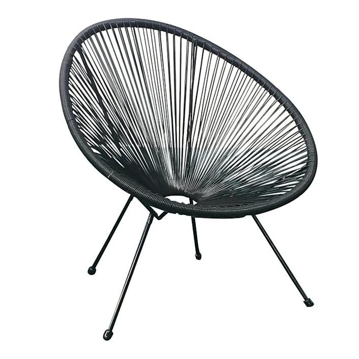 Acapulco Patio Chair All-Weather Weave Lounge Chair Patio Sun Oval Chair available for Indoor Outdoor,1 Piece,Black (Walmart / Walmart)