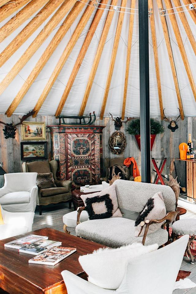 """<p>Nothing compares to the experience of skiing into a yurt for a little R&R at the end of your day, especially when there's a little Veuve Clicquot waiting. Après-ski selfies are taken to the next level in the <a href=""""https://www.montagehotels.com/deervalley/overview/"""" rel=""""nofollow noopener"""" target=""""_blank"""" data-ylk=""""slk:Veuve Clicquot Deer Valley Yurt"""" class=""""link rapid-noclick-resp"""">Veuve Clicquot Deer Valley Yurt</a> when you take them sprawled across plaid chairs with a cocktail in hand. The yurt officially closes at the end of the spring skiing season (mid-to-late April), but that doesn't mean you can't visit it again (and again) in June when it reopens for the summer months.</p>"""