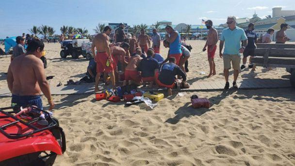 PHOTO: Life guards and first responders work at the scene of a stabbing at Point Pleasant in New Jersey, Sept. 7, 2020. (Courtesy Michael Reavis)
