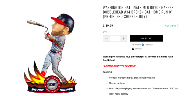 Bryce Harper's broken bat has its own bobblehead now. (Screen shot via Sports Fan Island)