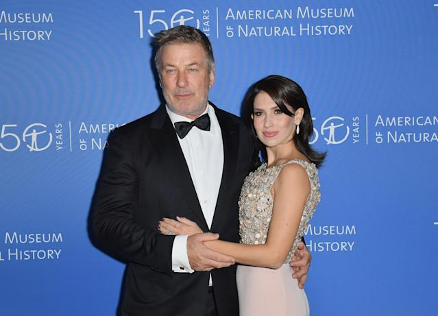 US actor Alec Baldwin (L) and Hilaria Baldwin attend the American Museum of Natural History Gala on November 21, 2019 in New York City. (Photo by Angela Weiss / AFP) (Photo by ANGELA WEISS/AFP via Getty Images)