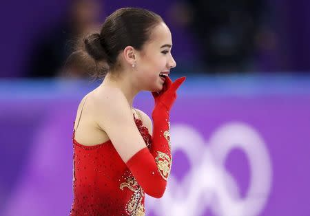 Figure Skating - Pyeongchang 2018 Winter Olympics - Women Single Skating free skating competition final - Gangneung Ice Arena - Gangneung, South Korea - February 23, 2018 - Alina Zagitova, an Olympic Athlete from Russia, reacts after finishing. REUTERS/Damir Sagolj