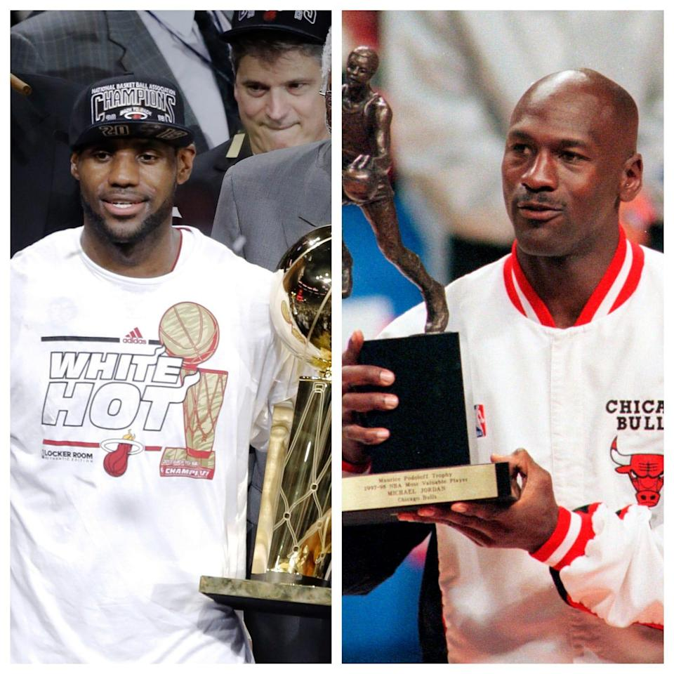 LeBron James and Michael Jordan have hoisted a lot of trophy hardware in their careers.