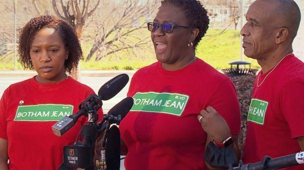PHOTO: Botham Jean's mother, Allison Jean, speaks at a press conference about the renaming of a street in her son's honor in Dallas, March 26, 2021. (WFAA)