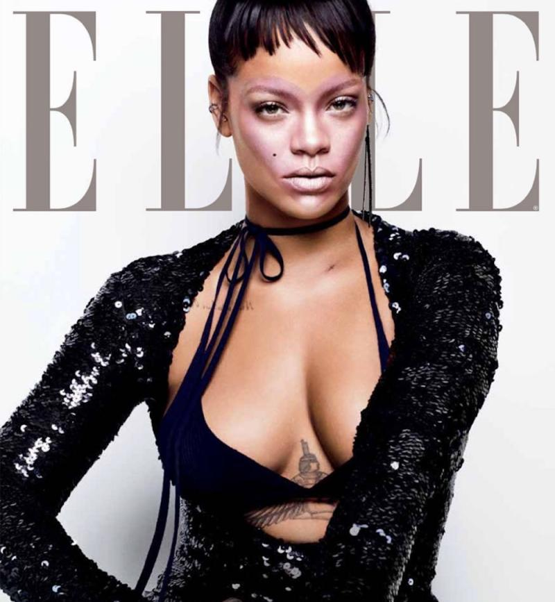 "Rihanna has a literal heart emoji on her face on the cover of ""Elle"" magazine"