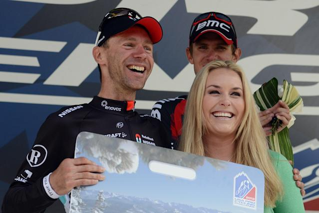 BEAVER CREEK, CO - AUGUST 23: Jens Voigt of Germany riding for RadioShack-Nissan-TREK poses for a photo after being presented with a lifetime ski pass to Beaver Creek from American alpine ski racer Lindsey Vonn following his win of Stage Four of the USA Pro Challenge from Aspen to Beaver Creek on August 23, 2012 in Beaver Creek, Colorado. (Photo by Garrett W. Ellwood/Getty Images)