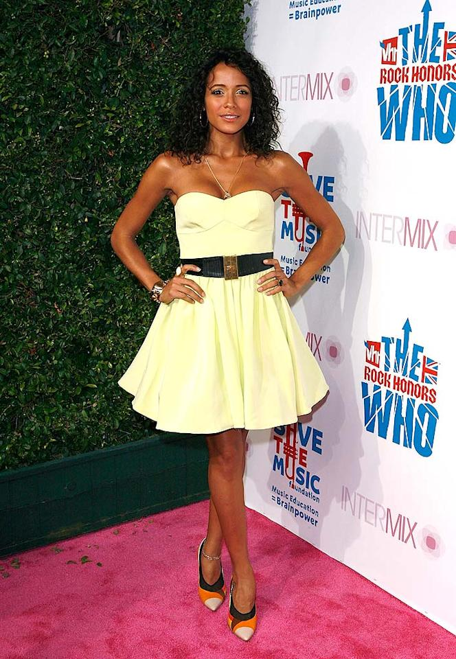 "Actress Dania Ramirez ruined her pretty pale yellow frock by donning the wrong accessories. Jean Baptiste Lacroix/<a href=""http://www.wireimage.com"" target=""new"">WireImage.com</a> - July 11, 2008"