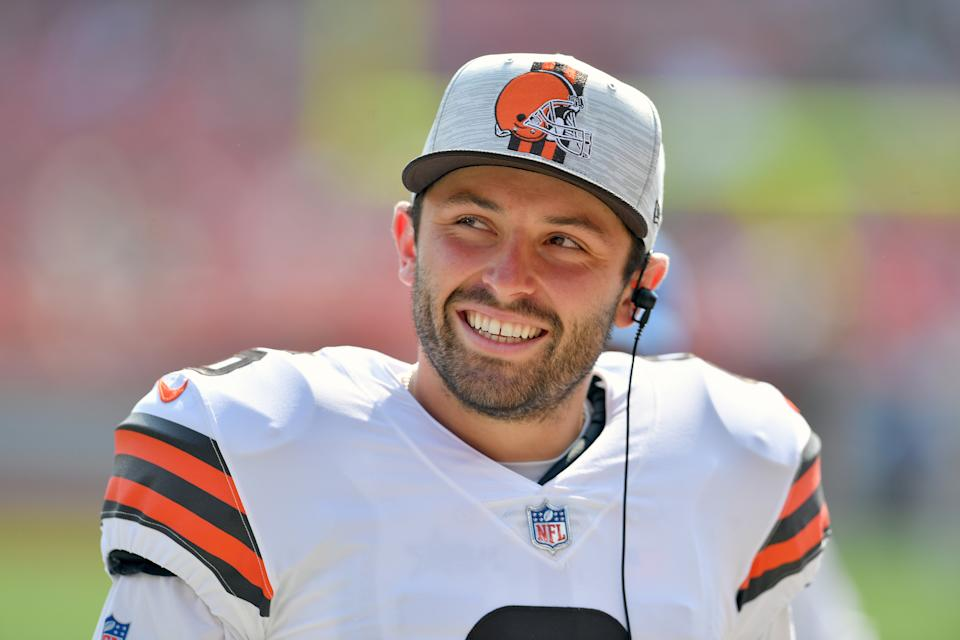 Cleveland Browns QB Baker Mayfield watches during a 2021 preseason game against the New York Giants. (Jason Miller/Getty Images)