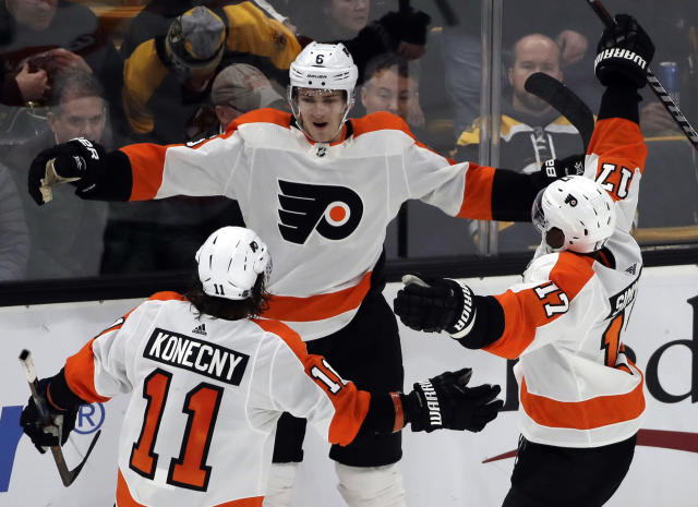 Travis Sanheim is finally showing what he can do on the ice. (AP Photo/Elise Amendola)