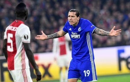 Football Soccer - Ajax Amsterdam's v Kobenhavn- UEFA Europa League Round of 16 Second Leg - Amsterdam Netherlands - 16/03/17 - Kobenhavn's Federico Santander reacts. REUTERS/United Photos/Toussaint Kluiters