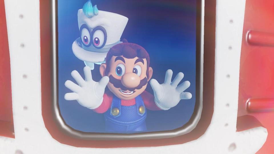 Mario and Cappy aboard the Odyssey.