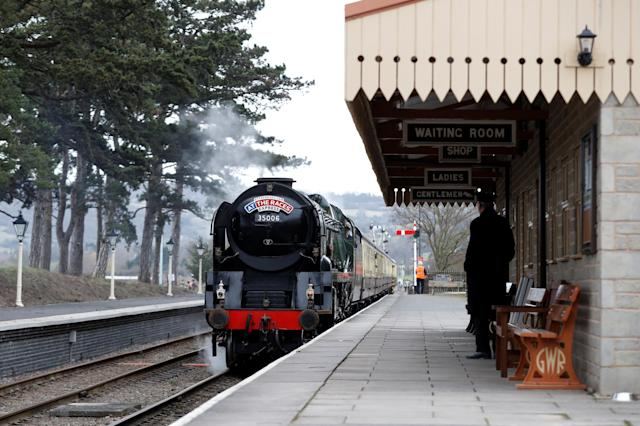 Horse Racing - Cheltenham Festival - Cheltenham Racecourse, Cheltenham, Britain - March 14, 2018 A steam train arrives at Cheltenham Racecourse railway station before the racing Action Images via Reuters/Matthew Childs