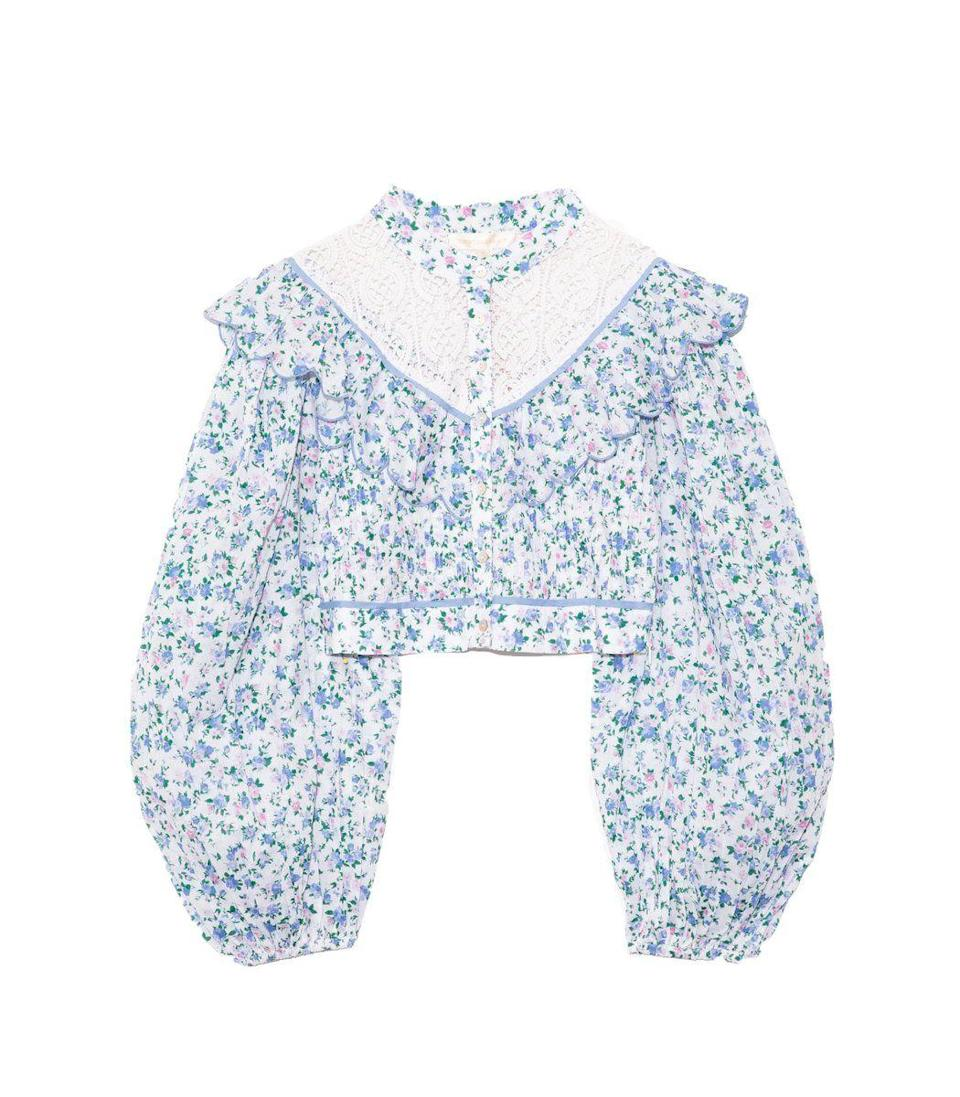 """<p><strong>LoveShackFancy</strong></p><p>ShopBAZAAR.com</p><p><strong>$285.00</strong></p><p><a href=""""https://go.redirectingat.com?id=74968X1596630&url=https%3A%2F%2Fshop.harpersbazaar.com%2Fdesigners%2Floveshackfancy%2Fegan-top-in-blue-jay-song-66709.html&sref=https%3A%2F%2Fwww.harpersbazaar.com%2Ffashion%2Fg31944159%2Fmothers-day-gifts-from-daughters%2F"""" rel=""""nofollow noopener"""" target=""""_blank"""" data-ylk=""""slk:Shop Now"""" class=""""link rapid-noclick-resp"""">Shop Now</a></p><p>As the weather warms up, so should her wardrobe, and this blouse is the place to start. The puffy sleeves, cropped silhouette, and exaggerated collar make for the perfect spring top.</p>"""