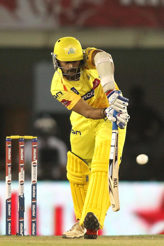 Murali Vijay of Chennai Super Kings plays a delivery through the leg side during match 11 of of the Pepsi Indian Premier League between The Kings XI Punjab and the Chennai Superkings held at the PCA Stadium, Mohal, India  on the 10th April 2013..Photo by Shaun Roy-IPL-SPORTZPICS  ..Use of this image is subject to the terms and conditions as outlined by the BCCI. These terms can be found by following this link:..https://ec.yimg.com/ec?url=http%3a%2f%2fwww.sportzpics.co.za%2fimage%2fI0000SoRagM2cIEc&t=1490772872&sig=L.7QMgXOrz53yBDUc_lJrg--~C