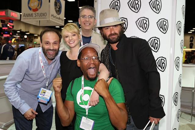 "Steve Molaro, Melissa Rauch, Bill Prady and Johnny Galecki get up close and personal with a big ""The Big Bang Theory"" fan at Comic-Con held at the San Diego Convention Center on July 19, 2013 in San Diego, California."