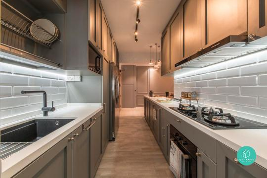 But its really right in the singapore heartlands the walls are sheathed in subway tiles the cabinets are imbued with a sense of modern farmhouse flair