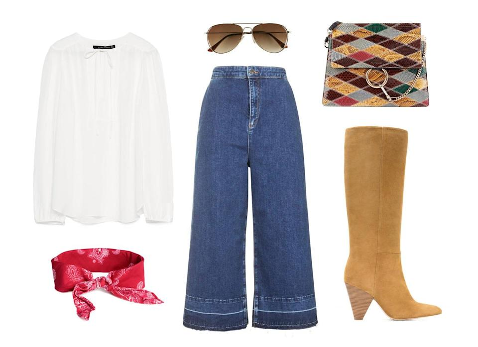 <p>Let take a stroll back to the seventies with this Chloé patchwork leather bag. Pair your on-trend denim culottes with a flowy blouse to bring a bit of bohemian flair. Add a pair of knee-high suede boots, and while a handkerchief might not be for everyone, it perfectly complements this throwback look.</p>