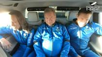 """New Shepard NS-18 mission crew members (L-R) Blue Origin vice president Audrey Powers; """"Star Trek"""" actor William Shatner and Medidata Solutions Co-Founder, Glen de Vries ride to the launch pad on October 13, 2021"""