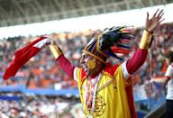 <p>A Peru fan enjoys the pre match atmosphere prior to the 2018 FIFA World Cup Russia group C match between Peru and Denmark at Mordovia Arena on June 16, 2018 in Saransk, Russia. (Photo by Jan Kruger/Getty Images) </p>