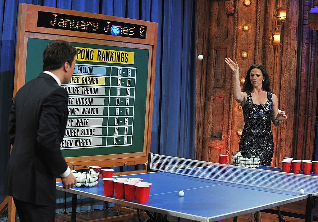 "Jennifer Garner showed off some serious skills when she took on Jimmy Fallon in a game of Beer Pong on ""Late Night With Jimmy Fallon"" in NYC Wednesday. The ""Arthur"" star said she'd never played before, but had some tricks up her sleeve from her kids' nanny. ""My nanny told me to stand off caddy-corner,"" said Jen, adding, ""She's who told me how to do this. I've never done it!"" When Jimmy laughed and asked, ""Your nanny who watches your kids taught you how to play beer pong?"" Jen replied, ""She's with them right now, yup!"" The tip paid off -- Garner won! Theo Wargo/<a href=""http://www.gettyimages.com/"" target=""new"">GettyImages.com</a> - April 6, 2011"