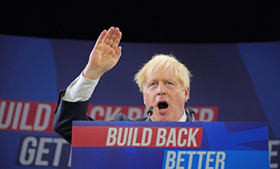 Prime Minister Boris Johnson delivers his keynote speech (Peter Byrne/PA) (PA Wire)