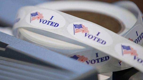 PHOTO: 'I voted' stickers sit on a table during a presidential primary election at the Journey Church in Kenosha, Wis., April 7, 2020. (Kamil Krzaczynski/AFP via Getty Images)