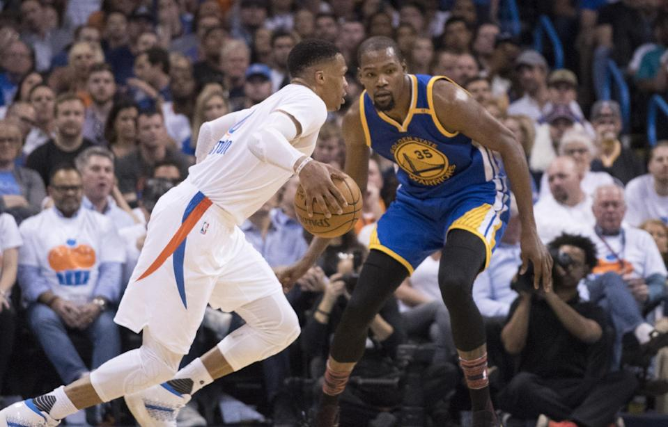 After a year of tension, the relationship between Kevin Durant and Russell Westbrook is back in a good place. (Photo by J Pat Carter/Getty Images)