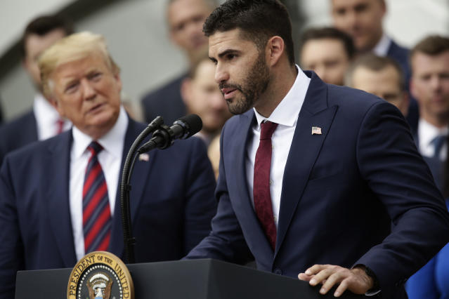 Right fielder J.D. Martinez speaks as U.S. President Donald Trump listens during a South Lawn event to honor the Boston Red Sox at the White House May 9, 2019 in Washington, DC. President Donald Trump hosted the Boston Red Sox to honor their championship of the 2018 World Series.(Photo by Alex Wong/Getty Images)
