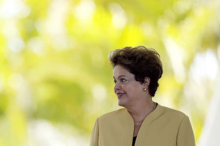 Brazil's President Rousseff looks on during a welcoming ceremony for EU Commission President Barroso before a meeting at the Alvorada Palace in Brasilia