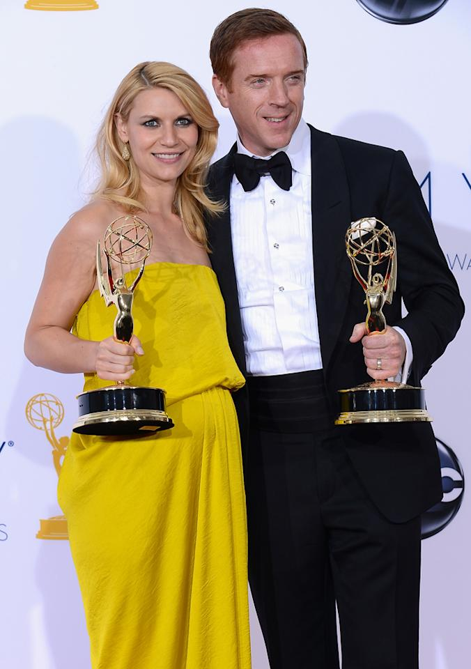 Claire Danes and Damian Lewis pose in the press room during the 64th Annual Primetime Emmy Awards at Nokia Theatre L.A. Live on September 23, 2012 in Los Angeles, California.  (Photo by Kevork Djansezian/Getty Images)