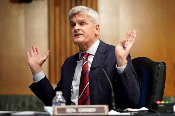 PHOTO: Sen. Bill Cassidy raises concerns about current COVID-19 guidelines during a Senate Health, Education, Labor and Pensions Committee hearing to discuss the ongoing federal response to COVID-19, May 11, 2021, in Washington, DC. (Greg Nash/Getty Images)