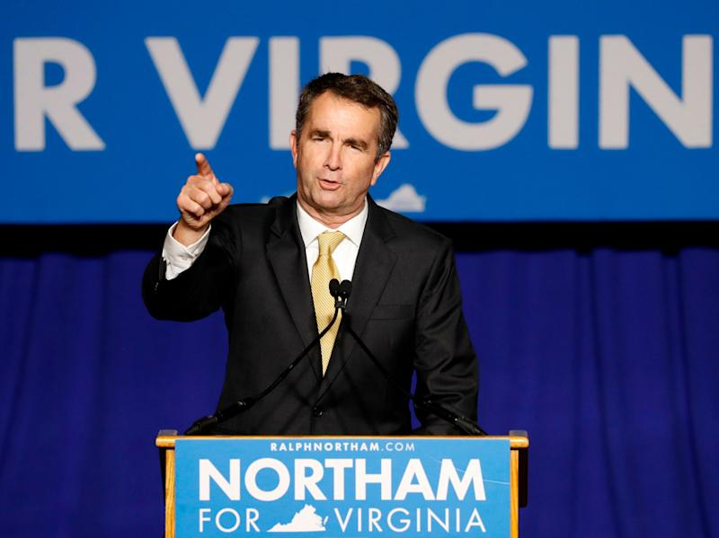 Virginia Governor-elect Ralph Northam speaks after his election night victory at the campus of George Mason University in Fairfax, Virginia, Nov. 7, 2017.