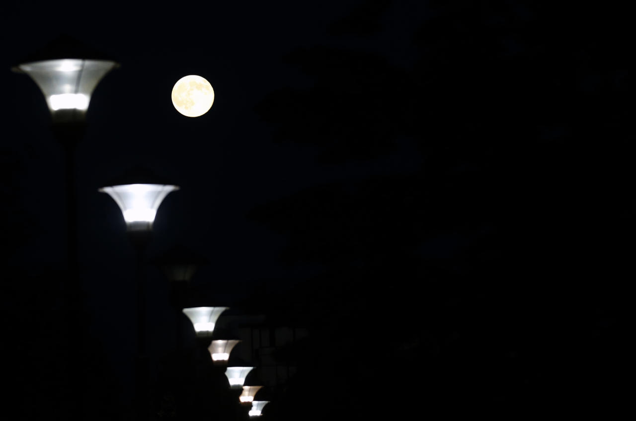 "A perigee moon, also known as a supermoon, is seen behind lanterns, in Belgrade, Serbia, Saturday, July 12, 2014. The phenomenon, which scientists call a ""perigee moon,"" occurs when the moon is near the horizon and appears larger and brighter than other full moons. (AP Photo/Darko Vojinovic)"