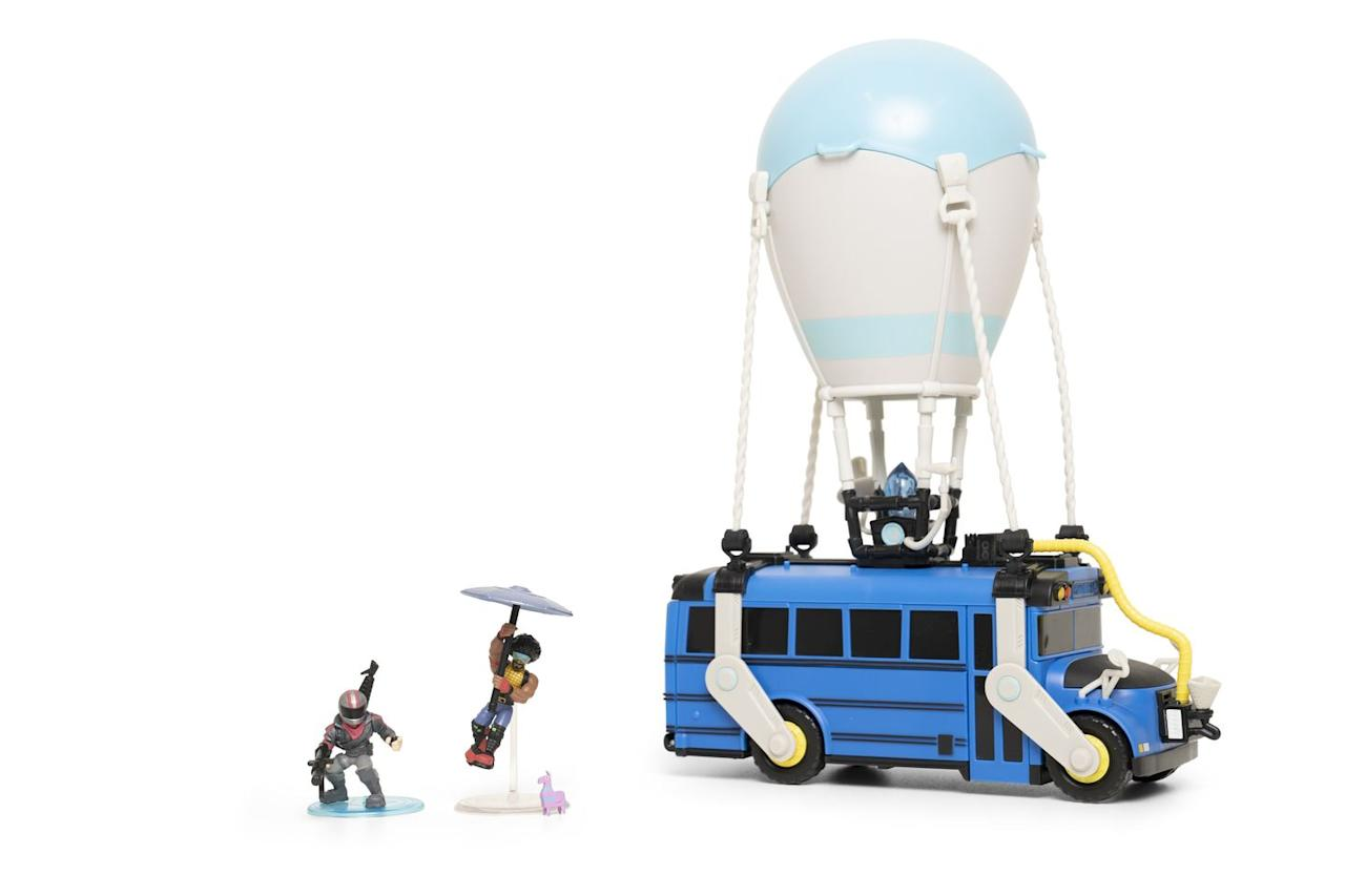 """<p>Fortnite fans can snap up the Fortnite Battle Bus and recreate their own Battle Royale using the character figurines included. </p><p><a class=""""body-btn-link"""" href=""""https://www.amazon.co.uk/Fortnite-63512-Collection-Exclusive-Figures/dp/B07L6QKBFL?tag=hearstuk-yahoo-21&ascsubtag=%5Bartid%7C2060.g.27783271%5Bsrc%7Cyahoo-uk"""" target=""""_blank"""">BUY NOW VIA AMAZON</a></p><p>• Also available to buy at <strong><a href=""""https://www.very.co.uk/fortnite-fortnite-battle-royale-collection-battle-bus-and-2-exclusive-figures-funk-ops-and-burnout/1600383729.prd"""" target=""""_blank"""">Very</a></strong> and <strong><a href=""""https://www.argos.co.uk/product/9225862?"""" target=""""_blank"""">Argos</a></strong></p>"""