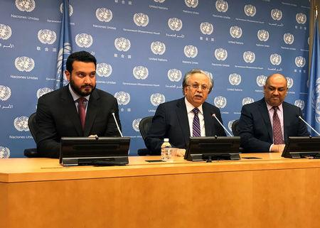 United Arab Emirates Deputy U.N. Ambassador Al Musharakh, Saudi Arabia U.N. Ambassador Al-Mouallimi, and Yemen U.N. Ambassador Alyemany seen at the United Nations in New York