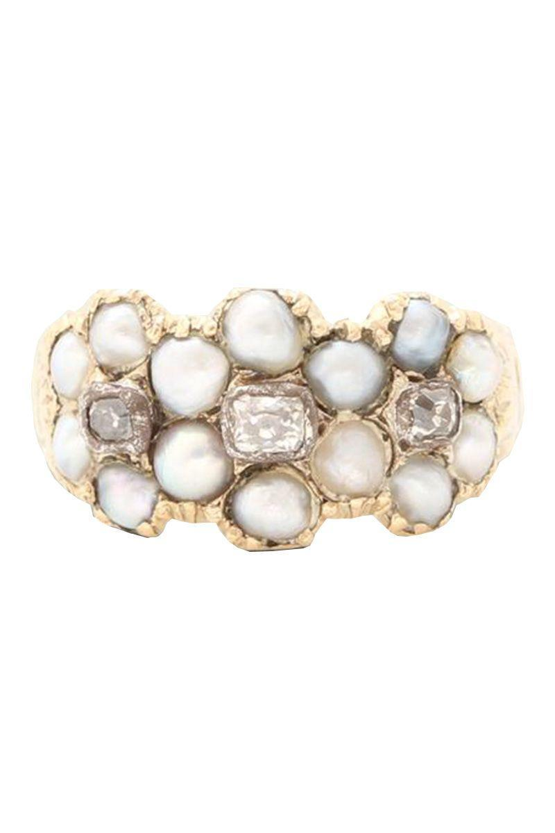 "<p><strong><em>Erica Weiner</em></strong> <em>Georgian Pearl and Diamond Triple Cluster Ring, circa 1820, $1,800, <a href=""https://ericaweiner.com/collections/antique-jewels/products/georgian-pearl-and-diamond-triple-cluster-ring"" rel=""nofollow noopener"" target=""_blank"" data-ylk=""slk:ericaweiner.com"" class=""link rapid-noclick-resp"">ericaweiner.com</a></em></p><p><a class=""link rapid-noclick-resp"" href=""https://ericaweiner.com/collections/antique-jewels/products/georgian-pearl-and-diamond-triple-cluster-ring"" rel=""nofollow noopener"" target=""_blank"" data-ylk=""slk:SHOP"">SHOP</a></p>"