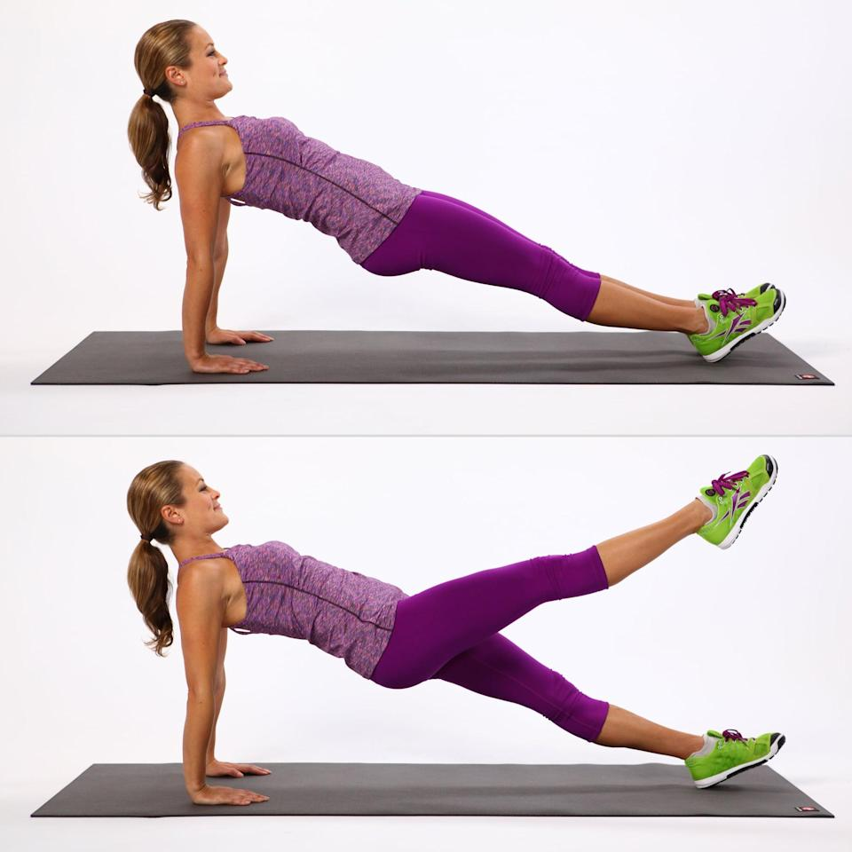 <ul> <li>Begin sitting on your butt with your legs straight. Bring your palms a few inches behind you, fingertips facing the toes.</li> <li>Press into your feet and lift your bum off the ground. Try to keep your body in one diagonal line. You can also do this exercise on your elbows if it bothers your wrists.</li> <li>Alternate between lifting your right leg up and then your left to complete the rep. Move with control, making the movements slow and steady and keeping the hips lifted.</li> </ul>