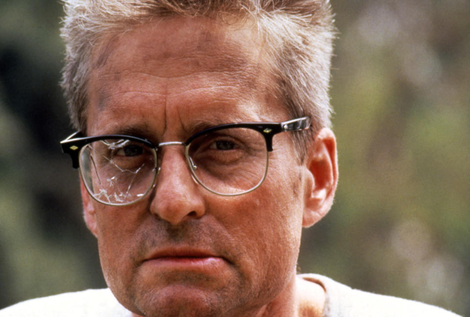 American actor Michael Douglas on the set of Falling Down directed by Joel Schumacher. (Photo by Sunset Boulevard/Corbis via Getty Images)