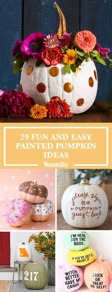 """<p>Save these painted pumpkin ideas for later by pinning this image! Follow Woman's Day on <a rel=""""nofollow"""" href=""""https://www.pinterest.com/womansday/"""">Pinterest</a> for more great Halloween pumpkins.</p>"""