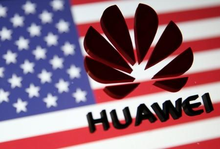 A 3D printed Huawei logo is placed on glass above displayed US flag in this illustration