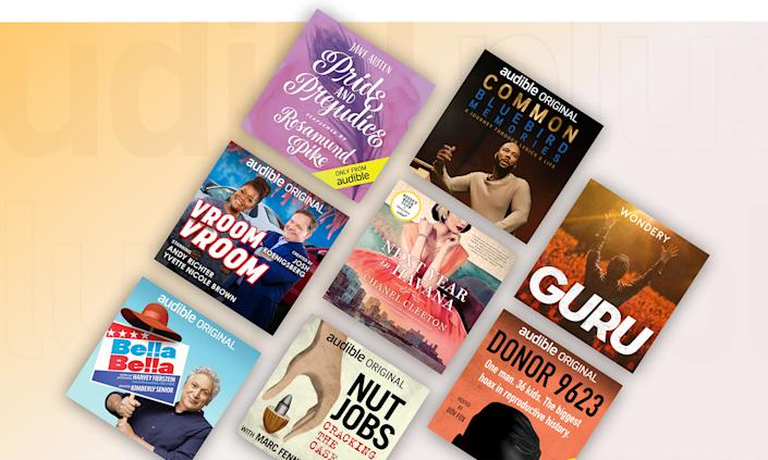 Examples of Audio audio book covers laid out in a slanted grid.