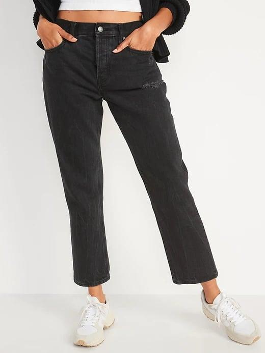 <p>No need to stress over what to pair with these <span>Old Navy High-Waisted Slouchy Straight Cropped Distressed Jeans</span> ($48, originally $50) as they look great with a simple white tank or crop top.</p>