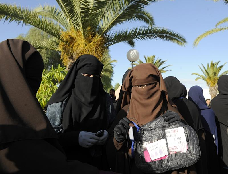 Female students at a rally in Manuba, west of Tunis, on December 8, 2011 call for female students to be allowed to wear the Muslim veil in class