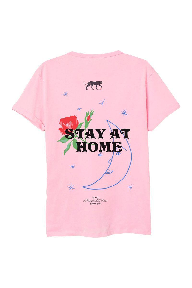"""<p>RIXO has released two 'Stay at Home' t-shirts, featuring hand-painted motifs, available in pink and white. </p><p>The brand is donating 50% of sales to two charities, with proceeds from the white t-shirt going to NHS Charities' COVID-19 Urgent Appeal, and proceeds from the pink going to the <a href=""""https://carers.org/"""" rel=""""nofollow noopener"""" target=""""_blank"""" data-ylk=""""slk:Carers Trust"""" class=""""link rapid-noclick-resp"""">Carers Trust</a>.</p><p>T-shirt, £55, <a href=""""https://www.rixo.co.uk/product/nhs-charity-stay-at-home-t-shirt-restock/"""" rel=""""nofollow noopener"""" target=""""_blank"""" data-ylk=""""slk:rixo.co.uk"""" class=""""link rapid-noclick-resp"""">rixo.co.uk</a>.</p><p><a class=""""link rapid-noclick-resp"""" href=""""https://www.rixo.co.uk/product/nhs-charity-stay-at-home-t-shirt-restock/"""" rel=""""nofollow noopener"""" target=""""_blank"""" data-ylk=""""slk:SUPPORT NOW"""">SUPPORT NOW</a></p>"""
